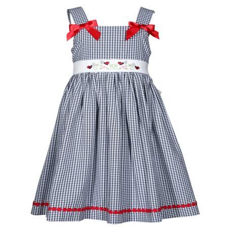 Little Girls Blue Gingham Ladybug Dress